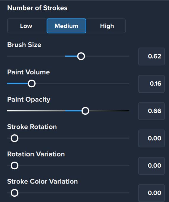 Impression Brush stroke settings for medium layer