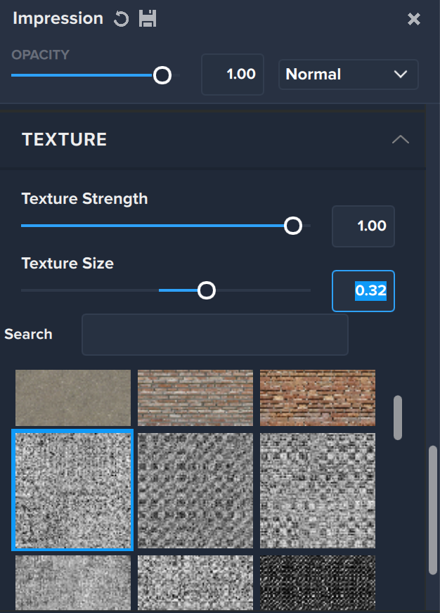 Topaz Labs Impression texture section