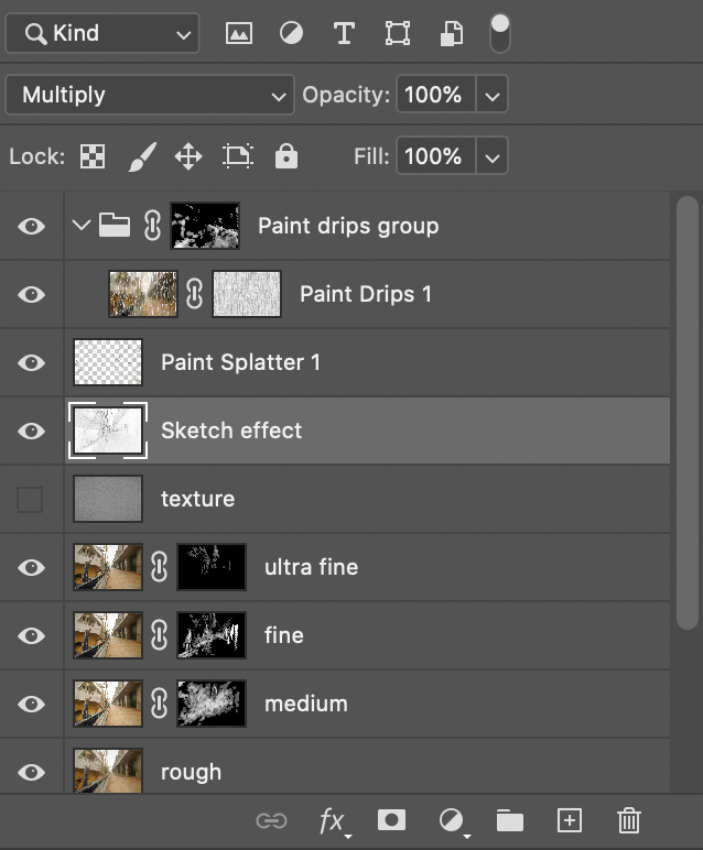 Layer-stack after creating the sketch effect