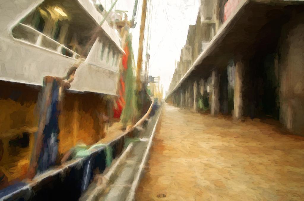 Scheveningen harbour digitally painted using Topaz Labs Studio 2